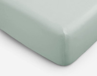 Bamboo Cotton Fitted Sheet in Jadeite, a pale celadon green.