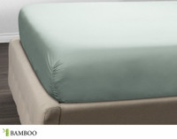 Bamboo Cotton Fitted Sheet in Jadeite, a celadon green.
