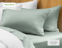Bamboo Cotton Pillowcase in Jadeite.