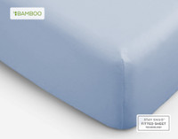 Bamboo Cotton Fitted Sheet in Marina Blue, a pale blue.