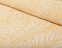 Close up of bright yellow botanical print.