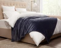 Cashmere Touch Fleece Blanket in Indigo, side view.
