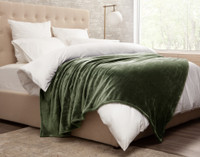 Cashmere Touch Fleece Blanket in Charcoal Grey, side view.
