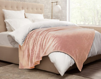 Cashmere Touch Fleece Blanket in Rose Smoke, side view.