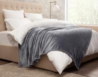 Cashmere Touch Fleece Blanket in Sleet Grey, side view.
