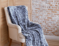 Frosted Shaggy Throw in Indigo Blue.