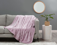 Fringe Velour Throw in Orchid, a soft pink.