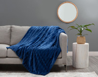 Fringe Velour Throw in Sail Blue, a deep navy.