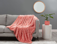 Fringe Velour Throw in Terracotta, an orangey pink.