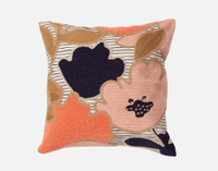 Memphis Square cushion cover features a chainstitch floral embroidery on a linen stripe fabric in shades of pink, terracotta, and navy blue.