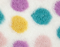 Close up of polka dot print on Frosted Shaggy Throw.