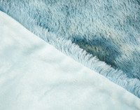 Close up of side by side view on Frosted Shaggy Throw in Ocean.