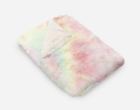 Frosted Shaggy Throw in Rainbow, folded angle view.