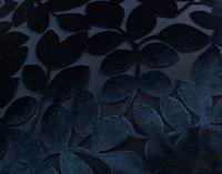Close up of Velvet Vine Square Cushion in Navy blue.