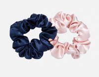 100% Mulberry silk scrunchies in Navy Blue and Blush Pink.