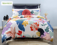 Baja Bedding Collection features over-sized foliage in bold shades of green, blue, pink, purple, and terracotta.