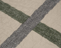 Close up of windowpane details from front of quilt set