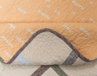 Detail of hem on Simco Quilt set, with a brown hem trim