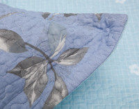 Close up of flange on Swallowtail Cotton Quilt Set.