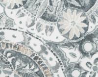 Front detail of Sonesta duvet cover and shams medallion print on a white background