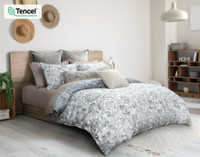 Sonesta Duvet Cover Side view, featuring a medallion print in White, Grey, Blue and Beige