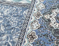 Close up of Talia detail of pattern in shades of blue and white