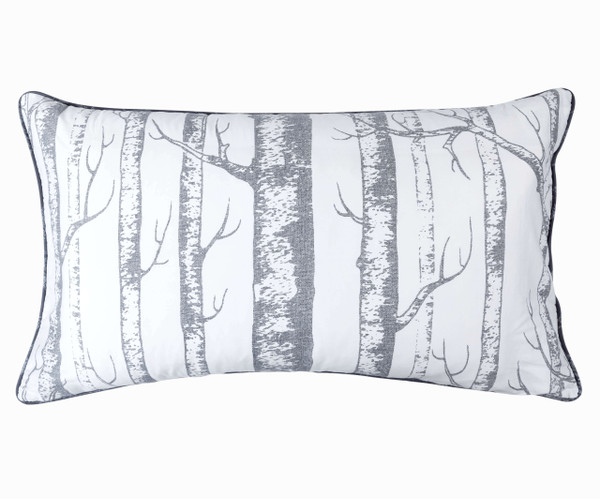 Birchgrove Pillow Shams feature silver and grey birch trees on a white background.