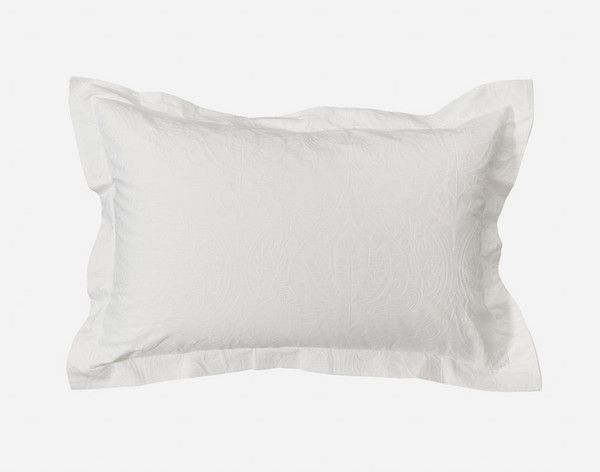 Astoria White Ogee Pillow Sham with two inch flange