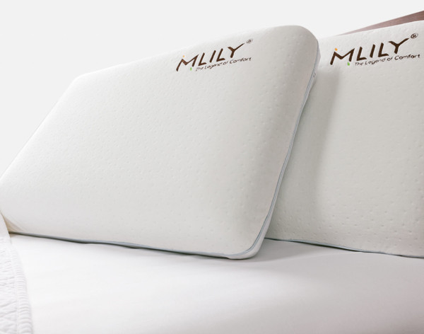 Two MLILY® Cool Blue Memory Foam Pillow overlapping.