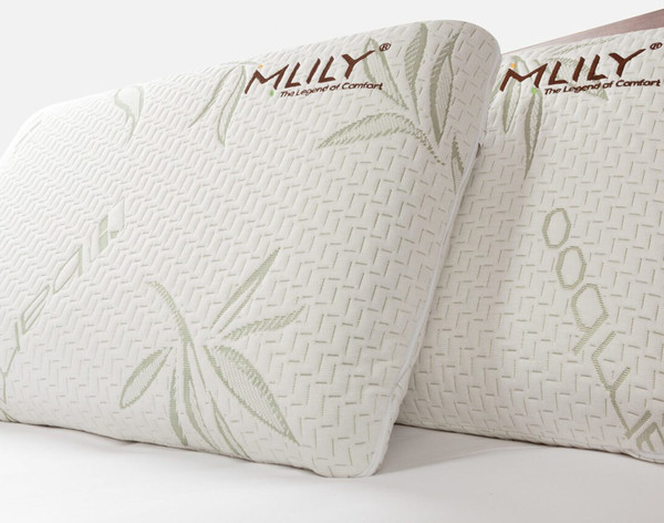 MLILY® Bamboo Charcoal Memory Foam Pillow, up-right view.