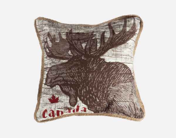 Canada Moose - Linen Look Square Cushion Cover