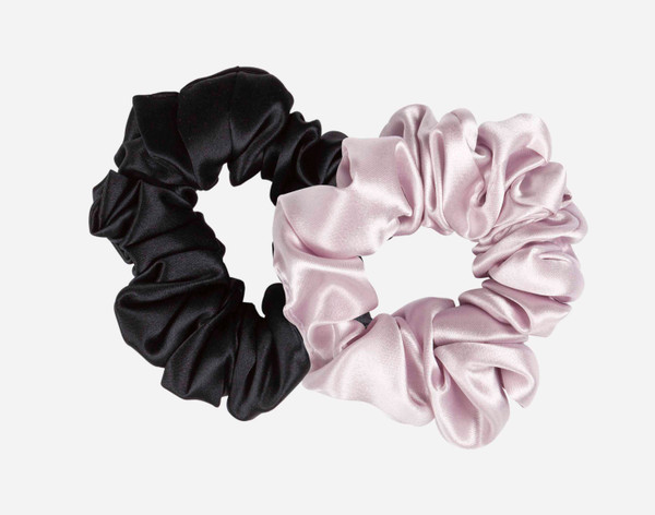 Silk Scrunchies in Black and Lavender