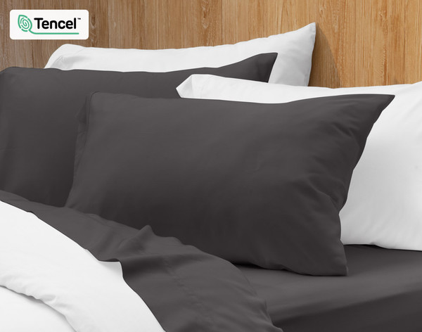 BeechBliss Modal Pillowcase in Pewter Grey on bed