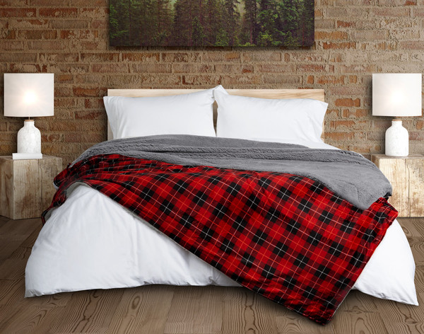 Plaid Sherpa Blanket in Red and Black on Bed