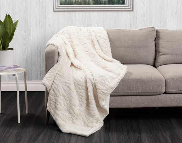 Faux Fur Throw in Snowshoe Hare on couch