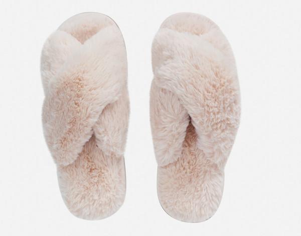 Rabbit Plush Slippers in Blush