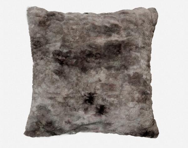 Carved Faux Fur Euro Sham in Pewter, a medium grey