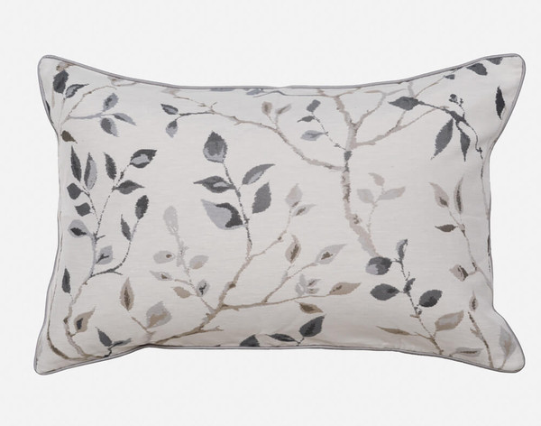 Brentwood Pillow Sham features a timeless botanical print in shades of grey and taupe.