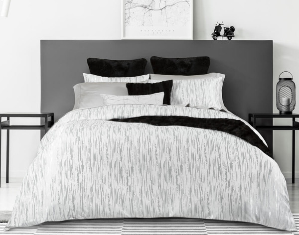 Front view of Cloudburst Duvet Cover featuring silver striations on a matte white background.