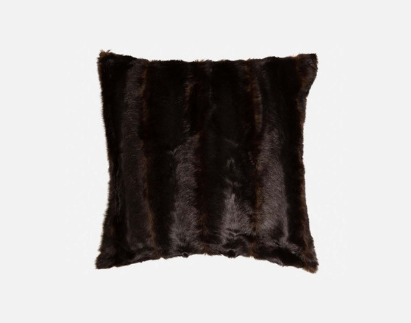 Faux Fur Square Cushion Cover in Wolverine Brown