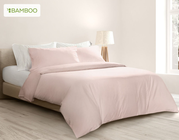 Bamboo Cotton Duvet Cover in Blush
