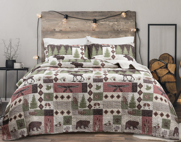 Back Country Cotton Quilt Set features a classic patchwork design in cream, taupe, and rich chocolate brown.