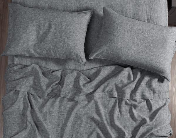 Vintage Washed European Linen Flat Sheet in Indigo Grey, top view.