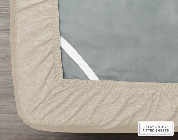 Vintage Washed European Linen Fitted Sheet in Linen, a soft beige, elastic view.
