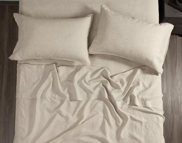 Vintage Washed European Linen Flat Sheet in Linen, a soft beige, top view.