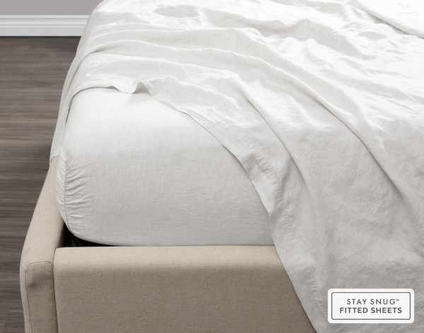 Vintage Washed European Linen Fitted Sheet in White, side view.