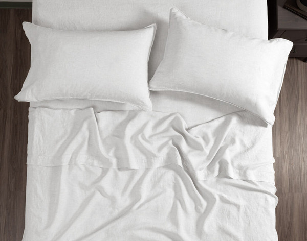 Vintage Washed European Linen Flat Sheet in White, top view.
