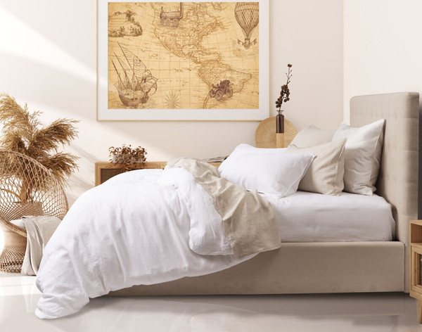 Vintage Washed European Linen Duvet Cover in White.