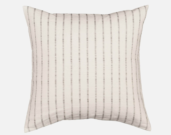 Mitchell Euro Sham features black pick-stitching on a natural white background.