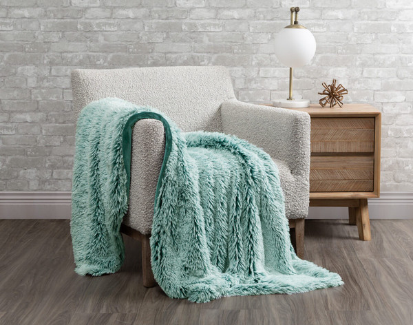 Frosted Shaggy Throw in Spruce Green.